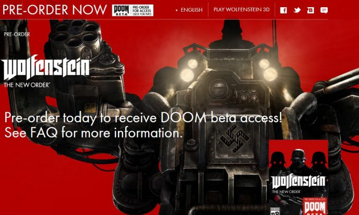 Doom 4 will be included with orders of the new Wolfenstein game. (Screenshot of Wolfenstein's website)