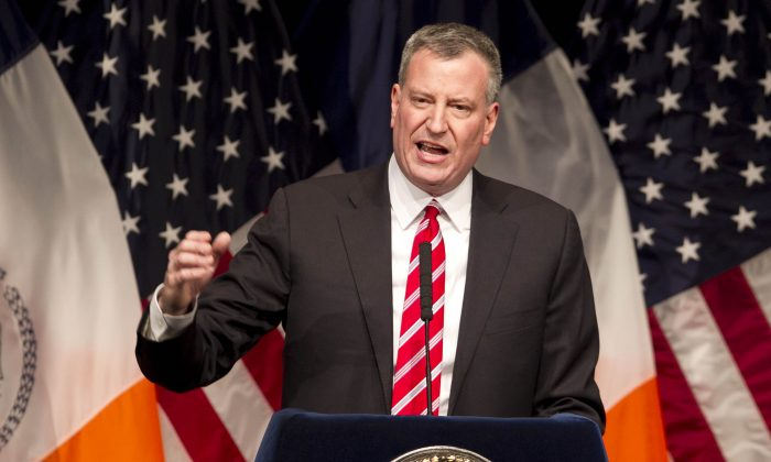 New York Mayor Bill de Blasio delivers his State of the City address at LaGuardia Community College in the Queens borough of New York, on Feb. 10, 2014. (AP Photo/Mark Lennihan, File)