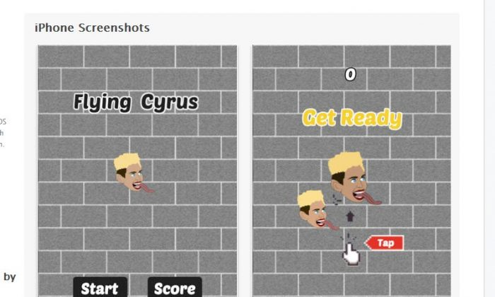 'Flying Cyrus - Wrecking Ball' has become the most downloaded App Store app this week. (Screenshot/App Store website)