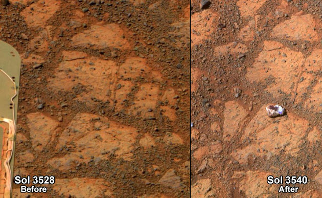 An object found by the Opportunity rover on Mars (right), and the same spot 12 days earlier (left). (NASA)