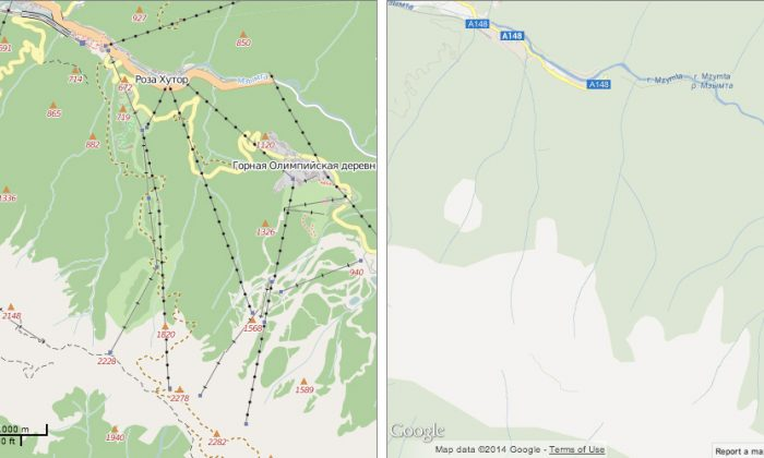 The Olmypis ski area as shown on Google Maps, right, and OpenStreetMap. (Geofabrik/OSM/Google)