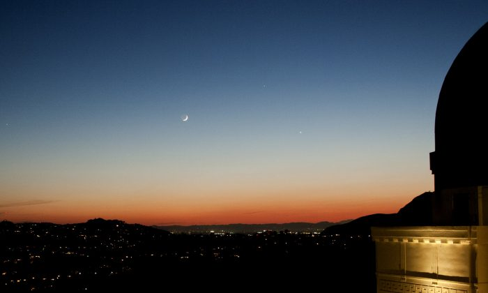 Mercury appears at the top of a triangle with the Moon and Venus on June 10, 2013 (Anthony Cook/Griffith Observatory)
