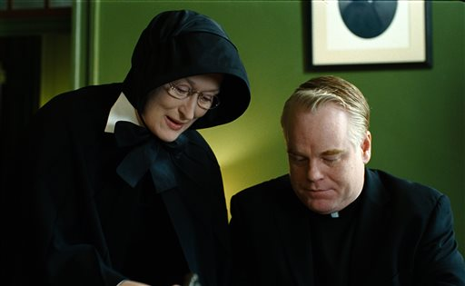 """In this undated file image released by Miramax Film Corp., Philip Seymour Hoffman portrays Father Flynn, right, and Meryl Streep portrays Sister Aloysius in a scene from """"Doubt."""" (AP Photo/Miramax Film Corp, Andrew Schwartz, File)"""