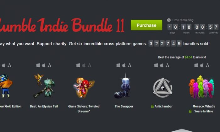 A screenshot of the Humble Bundle's website shows the latest Humble Indie Bundle.