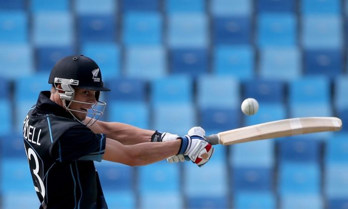 Brent Randall of New Zealand hits a shot during the February 18 match against England. (icc-cricket)