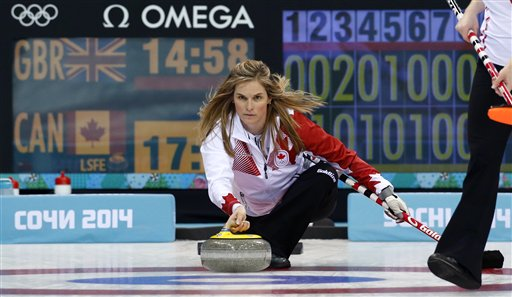 Canada's skip Jennifer Jones delivers the rock during the women's curling semifinal game against Britain at the 2014 Winter Olympics, Wednesday, Feb. 19, 2014, in Sochi, Russia. (AP Photo/Robert F. Bukaty)
