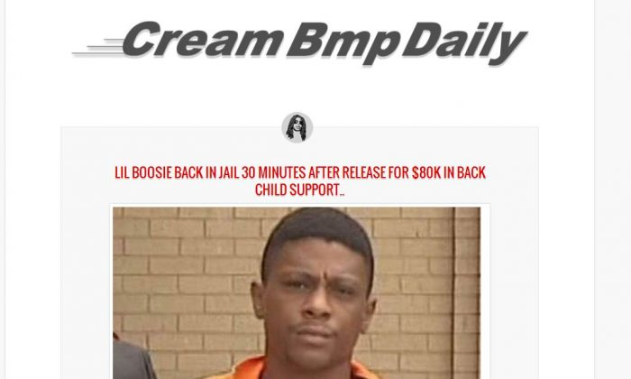 Lil Boosie did not get re-arrested over $80K in child support payments. The screenshot above is from a satire news site.