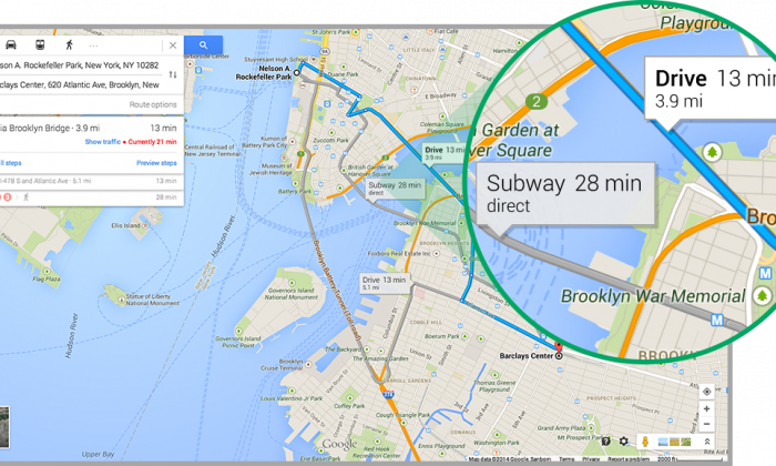One of the new features in Google Maps, which offers different methods of travel. (Google)