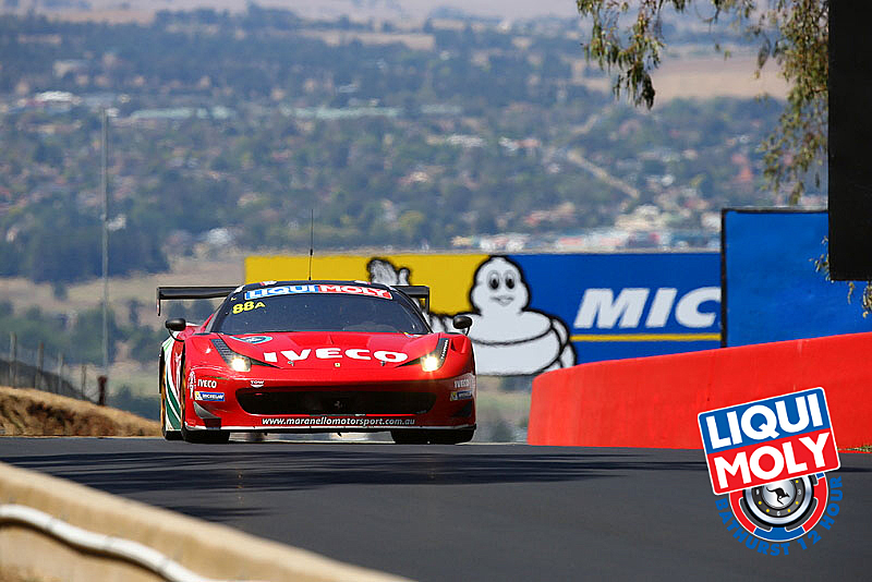 Craig Lowndes tried to stay ahead of the competition while still saving fuel, until the final caution made that irrelevant. (bathurst12hour.com.au)