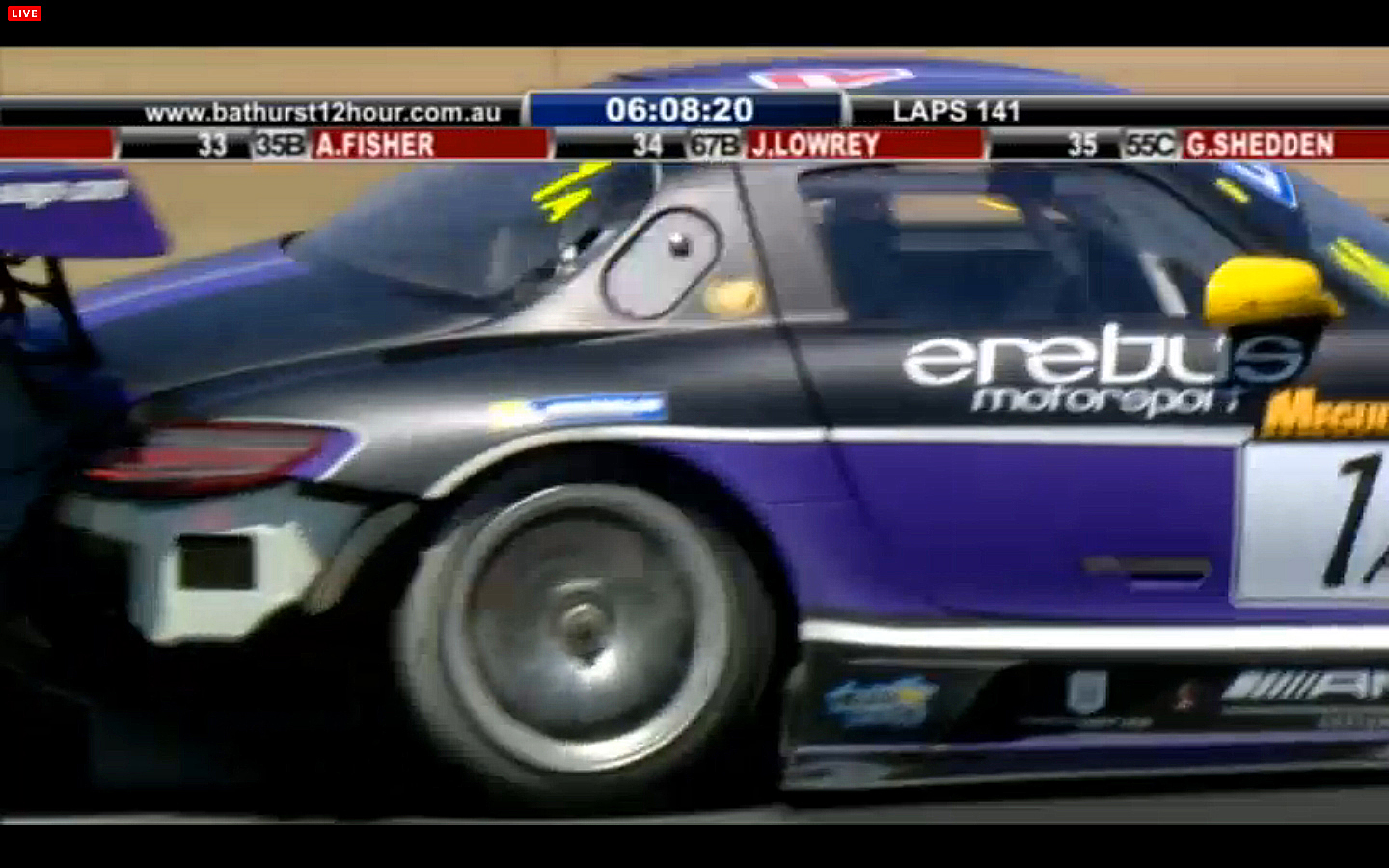 The #1 Mercedes is missing some of its right rear fender after going off at Skyline. (bathurst12hour.com.au)