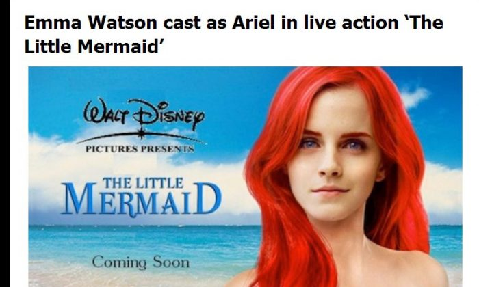 Emma Watson will not be starring in 'The Little Mermaid'--it's a hoax. (screenshot of Muggle.net)