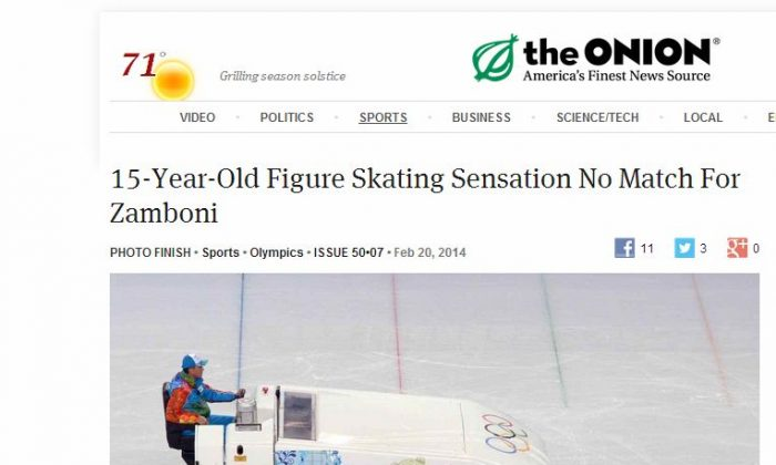 The Onion photo--'15-Year-Old Figure Skating Sensation No Match For Zamboni'--was panned by some people as going too far on social media.