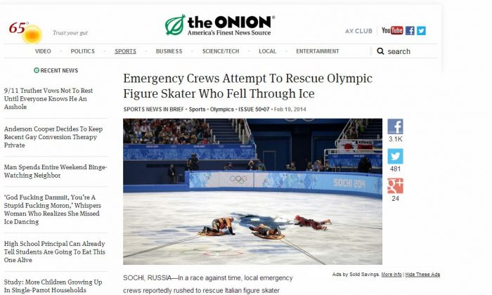 The Onion article--'Emergency Crews Attempt To Rescue Olympic Figure Skater Who Fell Through Ice'--had some people believing it was real. (Screenshot/The Onion)
