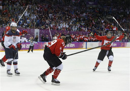 Marie-Philip Poulin of Canada (29) and Meghan Agosta-Marciano of Canada (2) react after Poulin scored the tying goal against the USA during the third period of the women's gold medal ice hockey game at the 2014 Winter Olympics, Thursday, Feb. 20, 2014, in Sochi, Russia. (AP Photo/Matt Slocum)