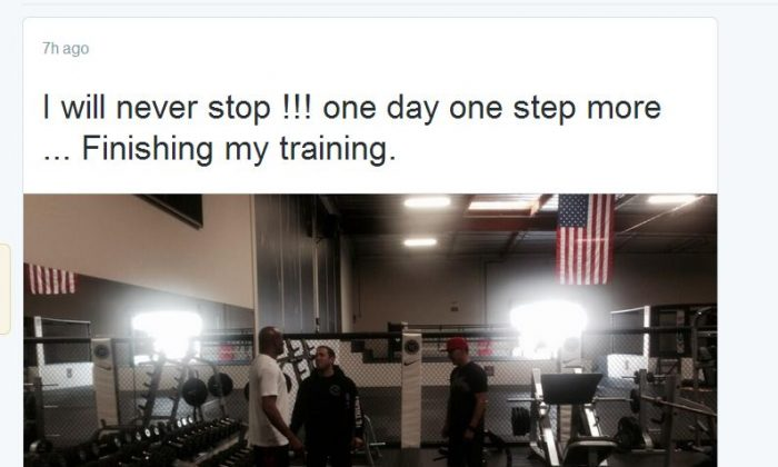 Anderson Silva is shown training, according to a photo he tweeted Thursday.