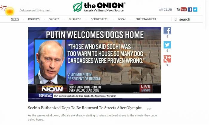 The Onion article, 'Sochi's Euthanized Dogs To Be Returned To Streets After Olympics,' is satire. (Screenshot/The Onion)