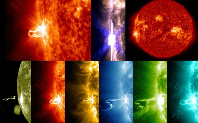 A compilation of NASA images of a solar flare as seen on Feb. 25, 2014 (Feb. 24 EST).