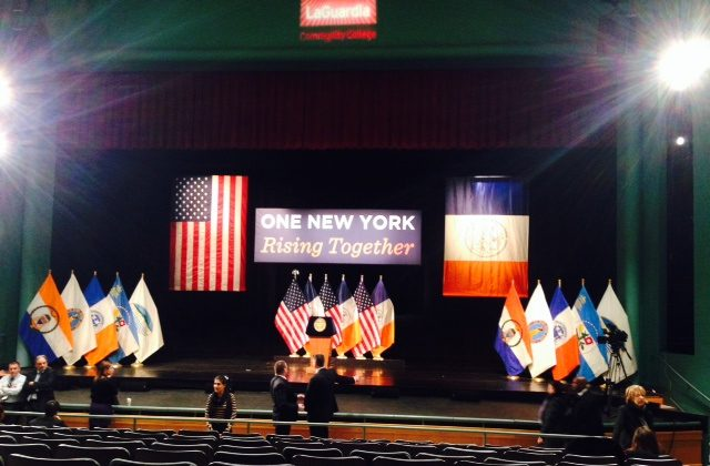 The stage set for Mayor Bill de Blasio's State of the City speech in LaGuardia Community College in Queens on Feb. 10, 2014. (Ivan Pentchoukov/Epoch Times)