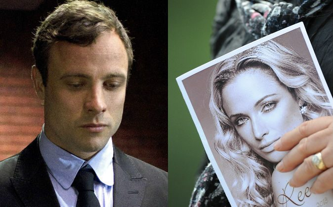 Left: Olympian Oscar Pistorius, at the magistrates court in Pretoria, South Africa, on Aug. 19, 2013. (AP Photo/Themba Hadebe, File) Right: A relative of the late South African model Reeva Steenkamp holds the funeral ceremony program at the crematorium building in Port Elizabeth on Feb. 19, 2013. (Alexander Joe/AFP/Getty Images)