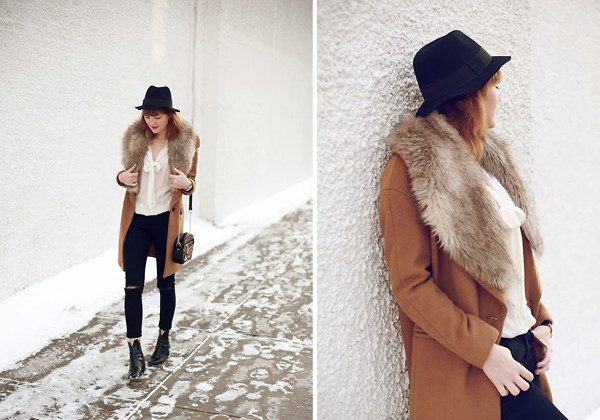 Veronica, New York, wears Zara coat with fur collar from H&M. (http://www.thedealdiary.com/ via Lookbook.nu)