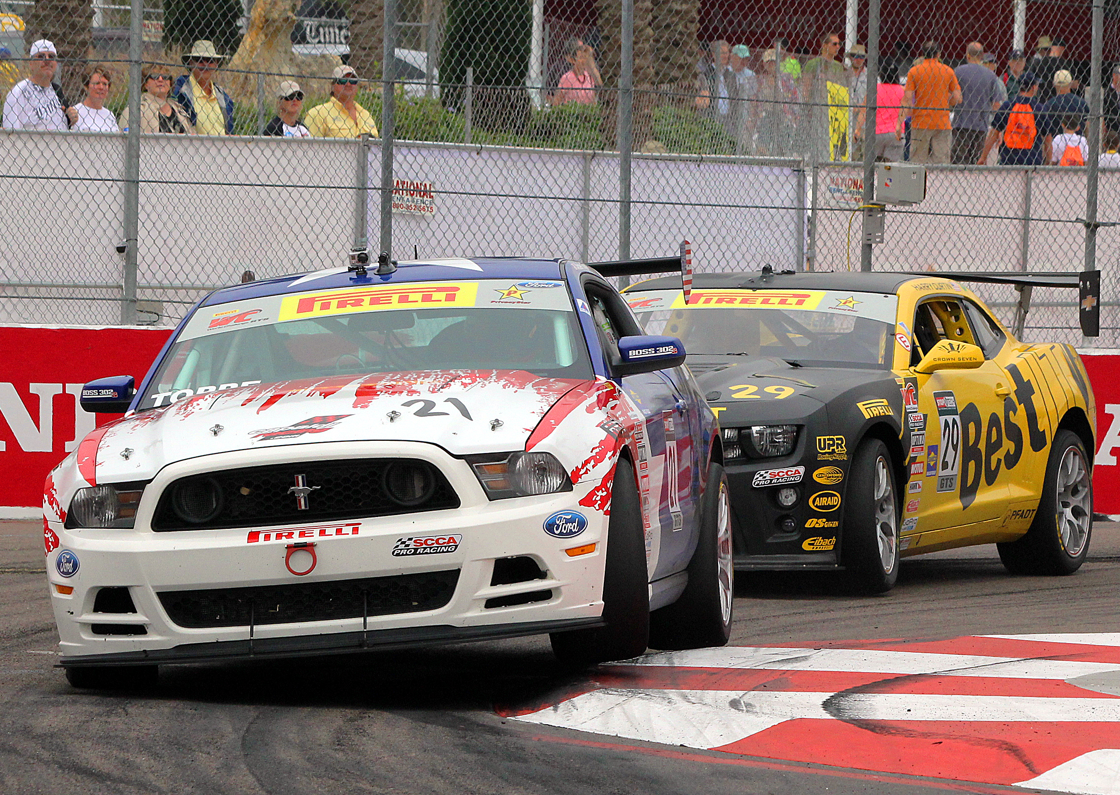 Pirelli World Challenge's GTS class is often a fight between American muscle car icons, the Ford Mustang and the Chevrolet Camaro. (Chris Jasurek/Epoch Times)