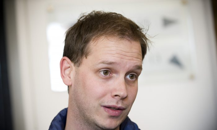 One of the co-founders of the file-sharing website, The Pirate Bay, Peter Sunde, waits on September 28, 2010 at the Swedish Appeal Court in Stockholm. (AFP/Getty Images)