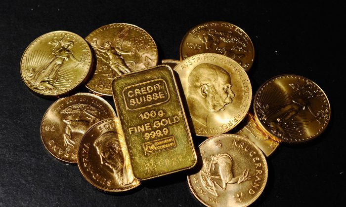 Gold coins on sale in Los Angeles on Nov. 9, 2010 as the price of gold hit a record high of $1,400 per ounce. Gold coins similar to these were uncovered by an anonymous couple February 2013 in Northern California. It's estimated that the mysterious coins could fetch $10 million at auction as the coins represent both a precious metal and rare collectible items. (Kevork Djansezian/Getty Images)