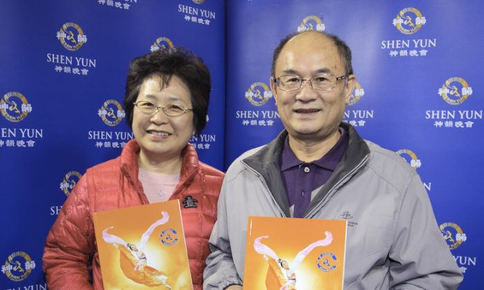 Su Jia-min, mayor of Taoyuan and his wife attends Shen Yun Performing Arts, on March 22. (Epoch Times)