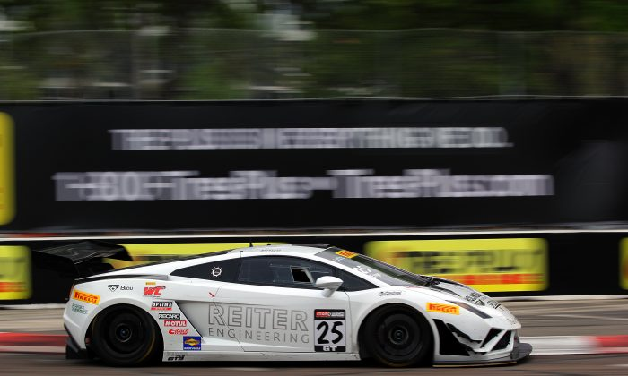 Tomas Enge in the #25 Reiter Engineering Lamborghini Gallardo FL2 was quickest at both Friday practice sessions for the Pirelli World Challenge Cadillac Grand Prix of St. Petersburg. (Chris Jasurek/Epoch Times)