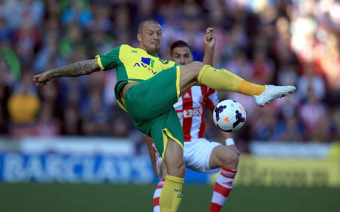 During the Barclays Premier League match between Stoke City and Norwich City at the Britannia Stadium on September 29, 2013 in Stoke on Trent, England. (Photo by Richard Heathcote/Getty Images)