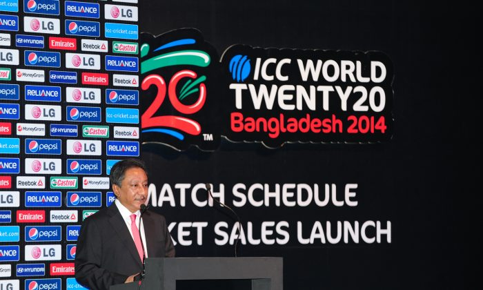 Bangladesh Cricket Board (BCB) President Nazmul Hassan speaks during the ICC World Twenty20 Bangladesh 2014 match schedule and ticket sales launch ceremony in Dhaka on October 27, 2013. Arch-rivals India and Pakistan are in a collision course in the ICC World Twenty20, 2014 as they have been drawn together, the International Cricket Council announced in Dhaka.  (Munir Uz Zaman/AFP/Getty Images)