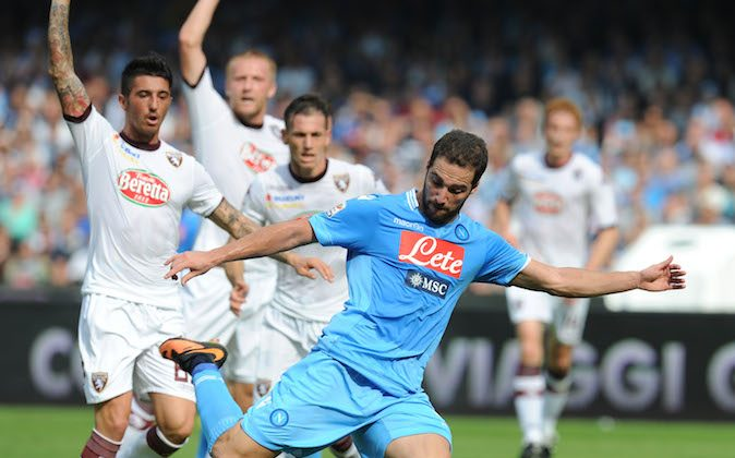 Gonzalo Higuain of Napoli in action during the Serie A match between SSC Napoli and Torino FC at Stadio San Paolo on October 27, 2013 in Naples, Italy. (Photo by Giuseppe Bellini/Getty Images)