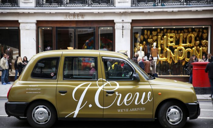 A London taxi cab bearing the J. Crew logo in Regent Street, London, Nov. 8, 2013. (Peter Macdiarmid/Getty Images for J. Crew)