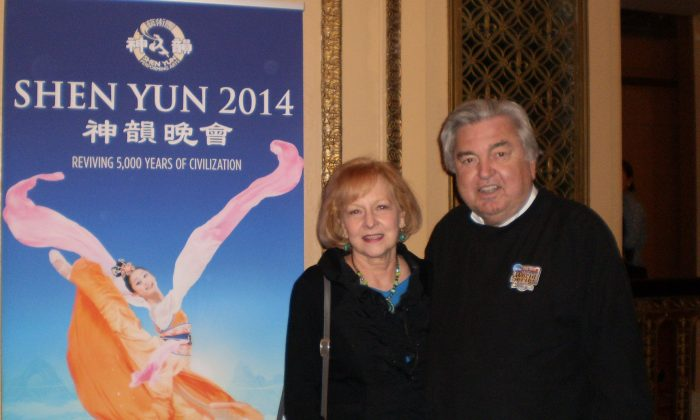 Polo and James Martin Davis enjoy Shen Yun Performing Arts at the Orpheum Theater on March 8. (Cara Ye/Epoch Times)