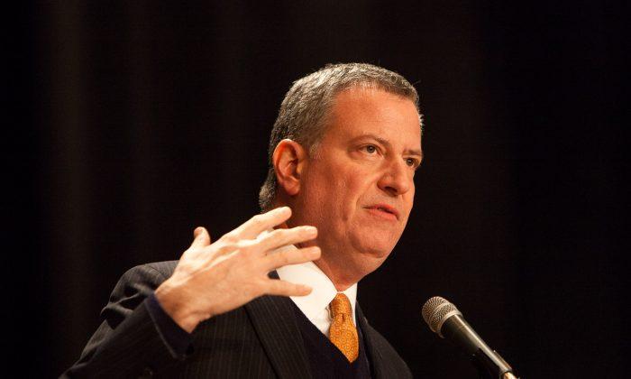 Mayor Bill de Blasio, Jan. 29, 2014. (Petr Svab/Epoch Times)