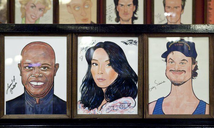 Caricatures of Samuel Jackson, Lucy Liu, and Gary Sinise. (Samira Bouaou/Epoch Times)