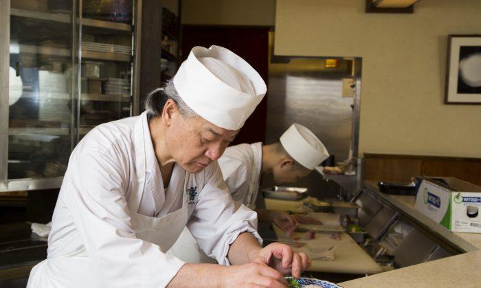 Toshio Suzuki, owner and chef of Sushi Zen, prepares a plate of blackthroat sea perch sushi. (Samira Bouaou/Epoch Times)