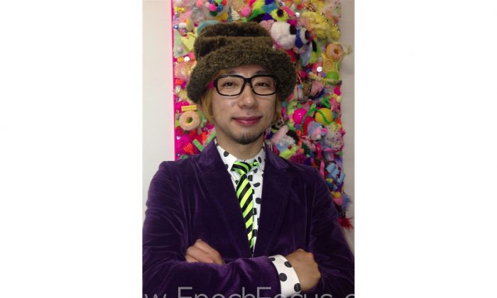 "Artist Sebastian Masuda's at the opening of his first exhibition in the United States,  ""Colorful Rebellion"" an environmental installation of his art work series interpreted as self-portrait of the artist.  (Marcus Green/Epoch Times)"