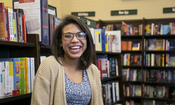 Natasha Estevez (2nd Place, Spoken Word Category) at the Day One and The Youth Voices Network writing contest on dating violence at Barnes & Noble in Tribeca, New York, Feb. 28, 2014. (Samira Bouaou/Epoch Times)