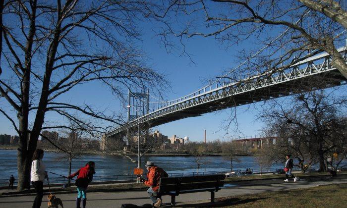 A file photo of one of New York's waterfront parks in Astoria that borders the city's coastline. (Beth J. Harpaz/AP)