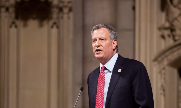 Mayor Bill de Blasio at Riverside Church in West Harlem, New York, March 23, 2014. (Petr Svab/Epoch Times)
