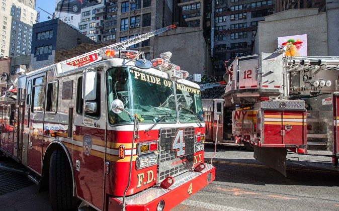 FDNY fire engine at 245 West 34th Steet, Manhattan, New York, March 27, 2014. (Petr Svab/Epoch Times)