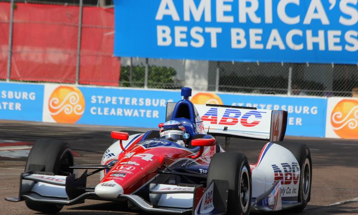 Takuma Sato in the #14 ABC Supply/AJ Foyt Racing Dallara-Honda rounds Turn Four during practice for the IndyCar Firestone Grand Prix of St. Petersburg. (Chris Jasurek/Epoch Times)