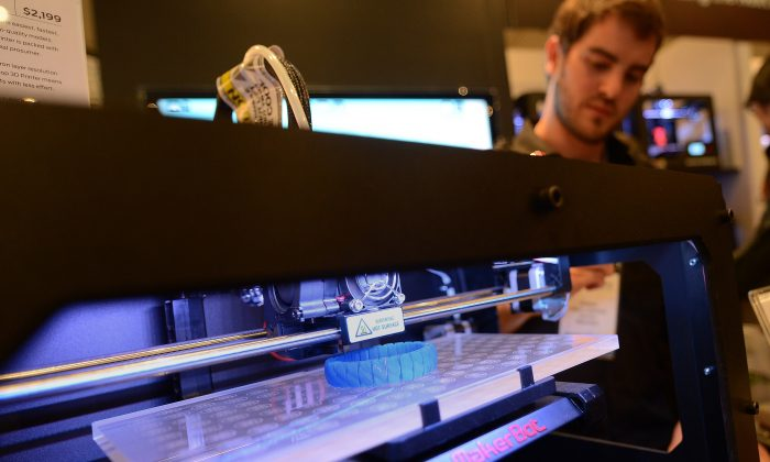 'Inside 3D Printing' conference in New York, April 22, 2013. The prospects for 3-D printing in manufacturing offers some hope that it will boost growth in manufacturing output in the United States. (Emmanuel Dunand/AFP/Getty Images)
