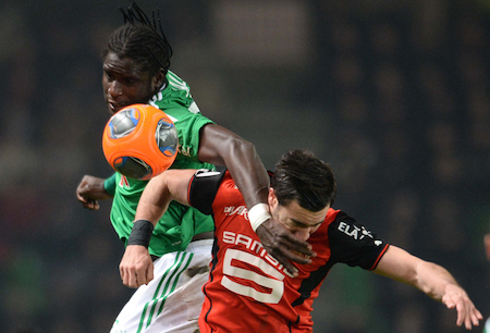 Rennes's forward Romain Alessandrini (R) vies with Saint Etienne's defender Moustapha Sall (L) during the French L1 football match Rennes vs Saint-Etienne on December 4, 2013 at the Route de Lorient stadium in Rennes, western France. Rennes won 3-1. (THOMAS BREGARDIS/AFP/Getty Images)