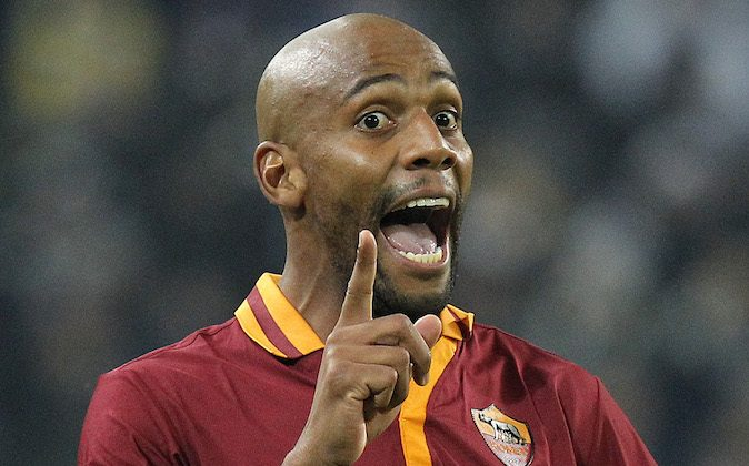 AS Roma defender Sisenando Maicon reacts during the Italian Serie A football match Juventus Vs AS Roma on January 5, 2014 at Juventus Stadium in Turin.   (MARCO BERTORELLO/AFP/Getty Images)