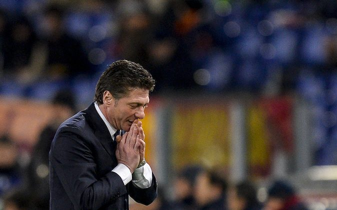 Inter Milan's coach Walter Mazzarri reacts during the Italian Serie A football match between AS Roma and Inter Milan on Mar. 1, 2014, at Rome's Olympic stadium. (ANDREAS SOLARO/AFP/Getty Images)