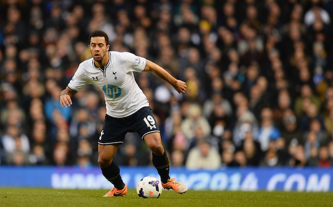 Mousa Dembele of Tottenham in action during the Barclays Premier League match between Tottenham Hotspur and Cardiff City at White Hart Lane on March 2, 2014 in London, England. (Photo by Mike Hewitt/Getty Images)