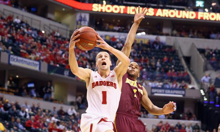 Ben Brust #1 of the Wisconsin Badgers shoots the ball in the game against the Minnesota Golden Gophers during the Quarterfinals of the Big Ten Basketball Tournament at Bankers Life Fieldhouse on March 14, 2014 in Indianapolis, Indiana. (Andy Lyons/Getty Images)