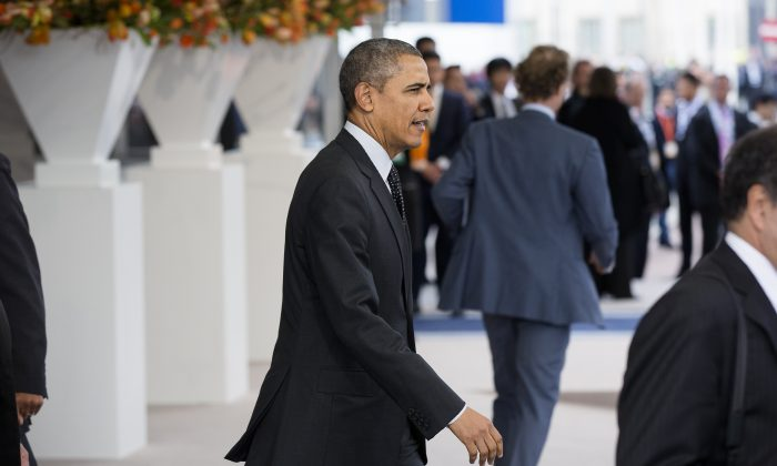 President Barack Obama leaves the 2014 Nuclear Security Summit in The Hague, the Netherlands, March 25, 2014. (Bart Maat-Pool/Getty Images)